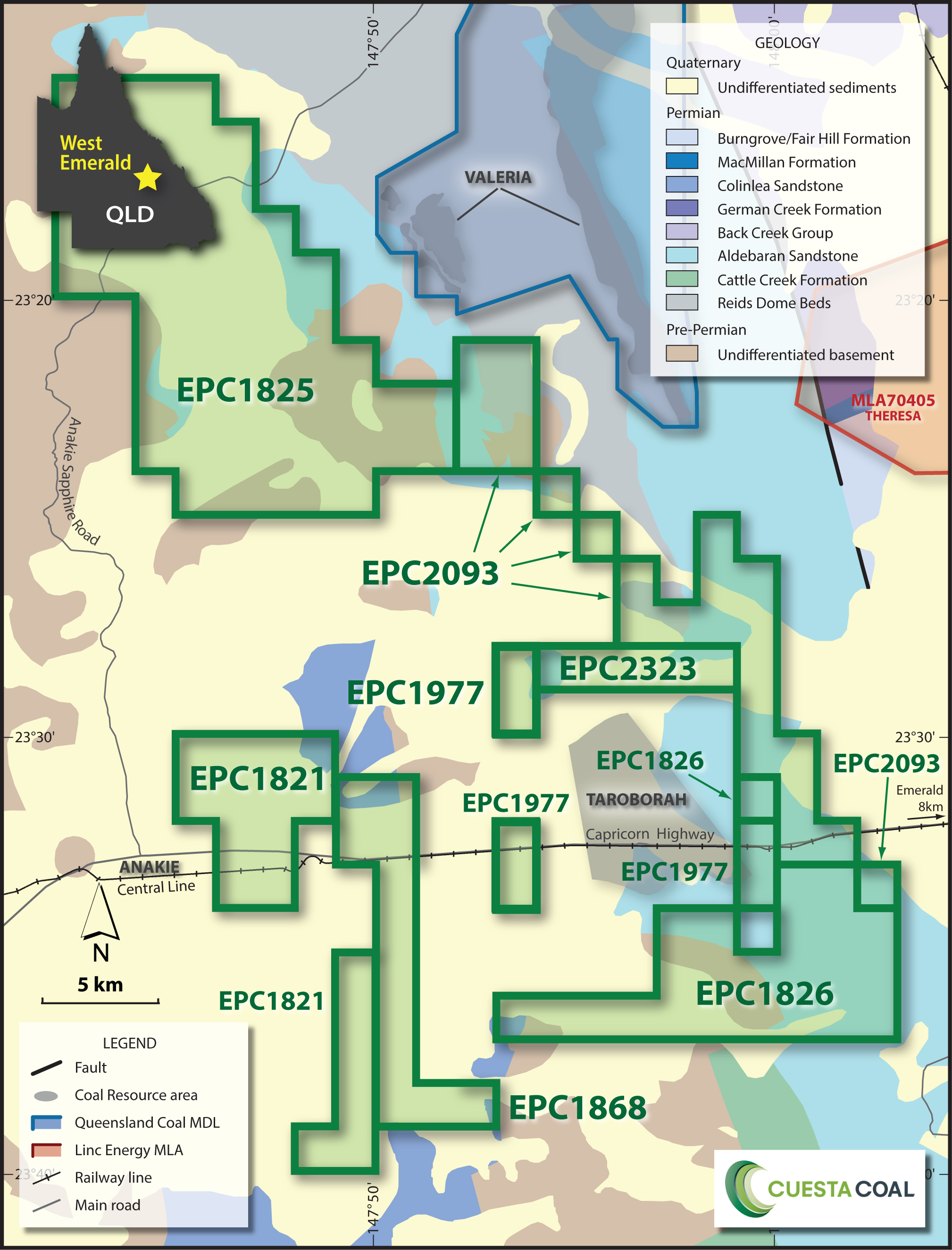 Cuesta Coal West Emerald Geology Map